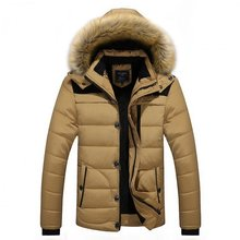 Men parka zipper cotton padded coat winter men coat fuax fur collar coat jacket