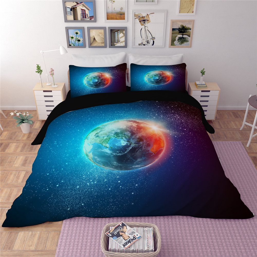 Home Textile 3D Moon Star Galaxy Bedding Set 3/4pcs Duvet Cover Set with Bedsheet Pillowcases Twin Queen king Size Free ShippingHome Textile 3D Moon Star Galaxy Bedding Set 3/4pcs Duvet Cover Set with Bedsheet Pillowcases Twin Queen king Size Free Shipping