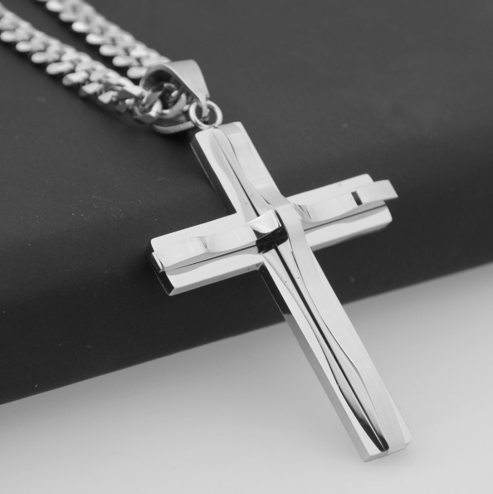 57mm*40mm Silver Cross Christ Jesus Pendant Necklace Stainless Steel Link Curb Cuban Chain Heavy Men Jewelry Gift 5mm Wide