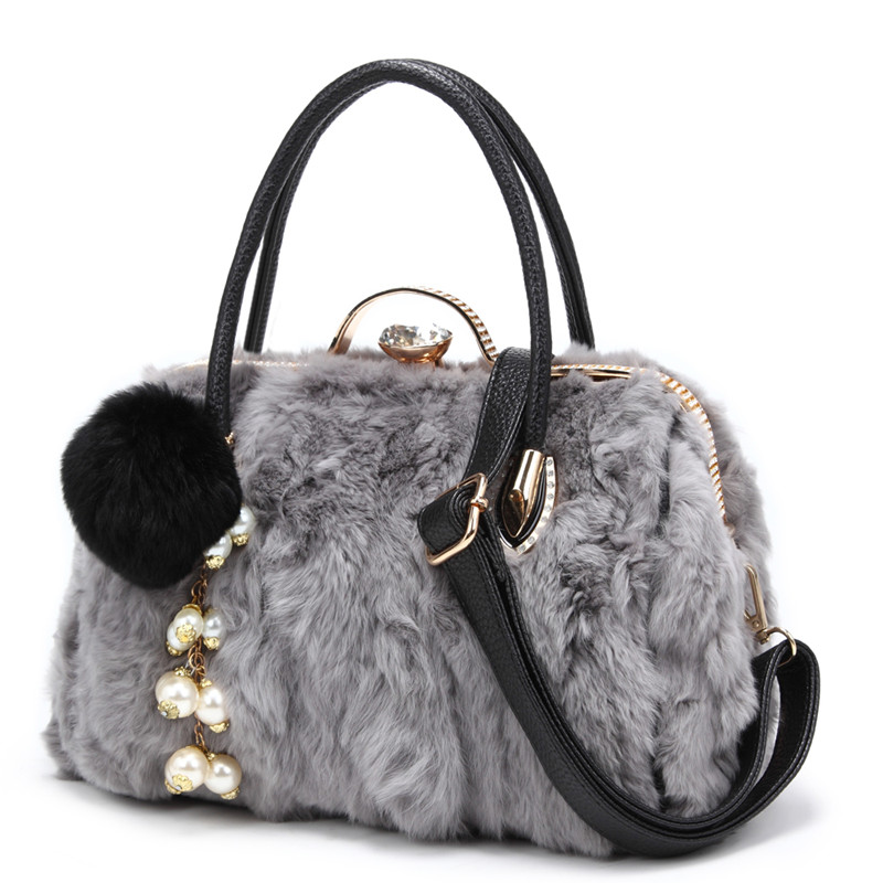 Genuine Leather cowhide handbag 100% rabbit fur shoulder bag winter fashion ladies Diamond Plush ball tassel decorative big bag