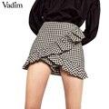 Women ruffles plaid checkered shorts skirts elegent side zipper ladies casual summer streetwear pantalones cortos DK352