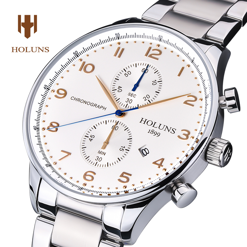 Luxury Holuns multifunction watch men Sapphire glass date silver stainless steel waterproof quartz watch