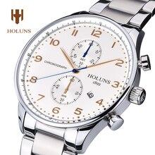 Holuns reloj multifunción hombres de lujo fecha de acero inoxidable de la plata de cristal de Zafiro reloj de cuarzo resistente al agua
