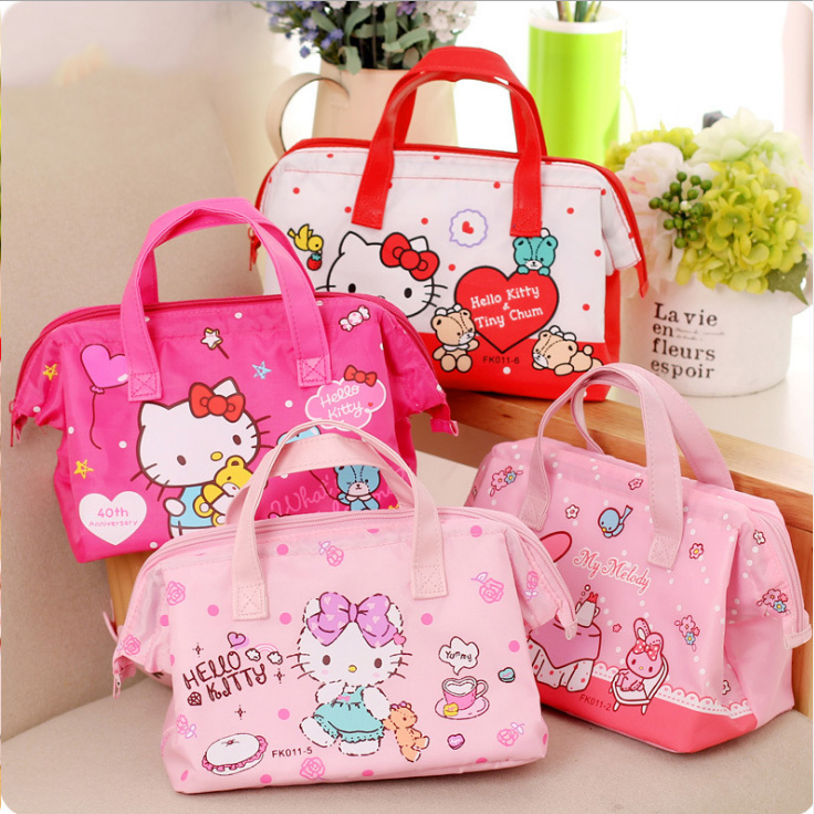 Cute Pink Hello Kitty Bow Foldable Shopping Bag Eco-friendly Large Capacity Gift