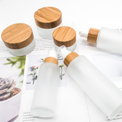 50pcs 30ml 50ml Bamboo Series Frosted Glass Cosmetic Cream Jar Dropper Bottle Lotion Spray Glass Bottle With Bamboo Cap Lid
