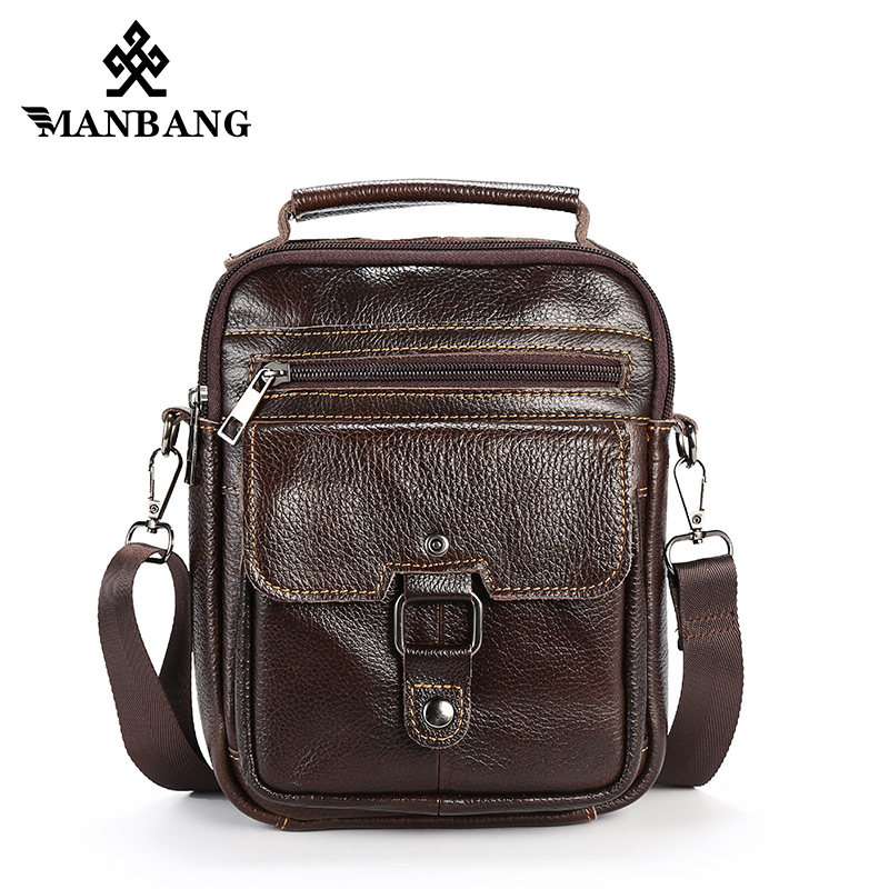 ManBang New Fashion Genuine Leather Shoulder Bags Men Messenger Bag Small ipad Male Tote Vintage Crossbody Bags Men's Handbags zznick genuine leather shoulder bags fashion men messenger bag small ipad male tote vintage new crossbody bags men s handbag