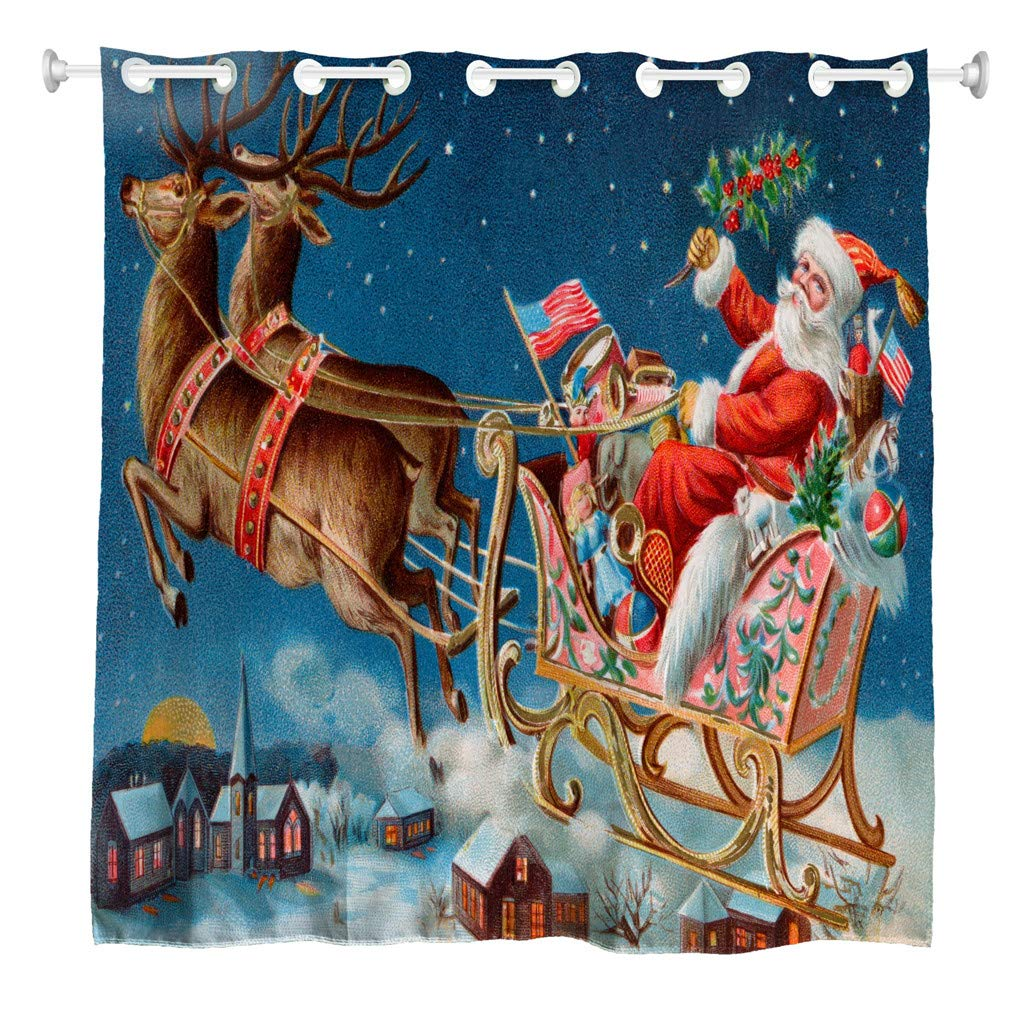 Christmas Shower Curtain Xmas Santa Claus Driving Deer Car in Snow Town Waterproof Bathroom Bath Curtains Colorful image