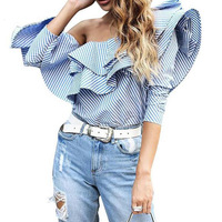 TOP QUALITY New Fashion 2017 Spring Summer Designer Blouse Women S One Shoulder Striped Ruffle Top