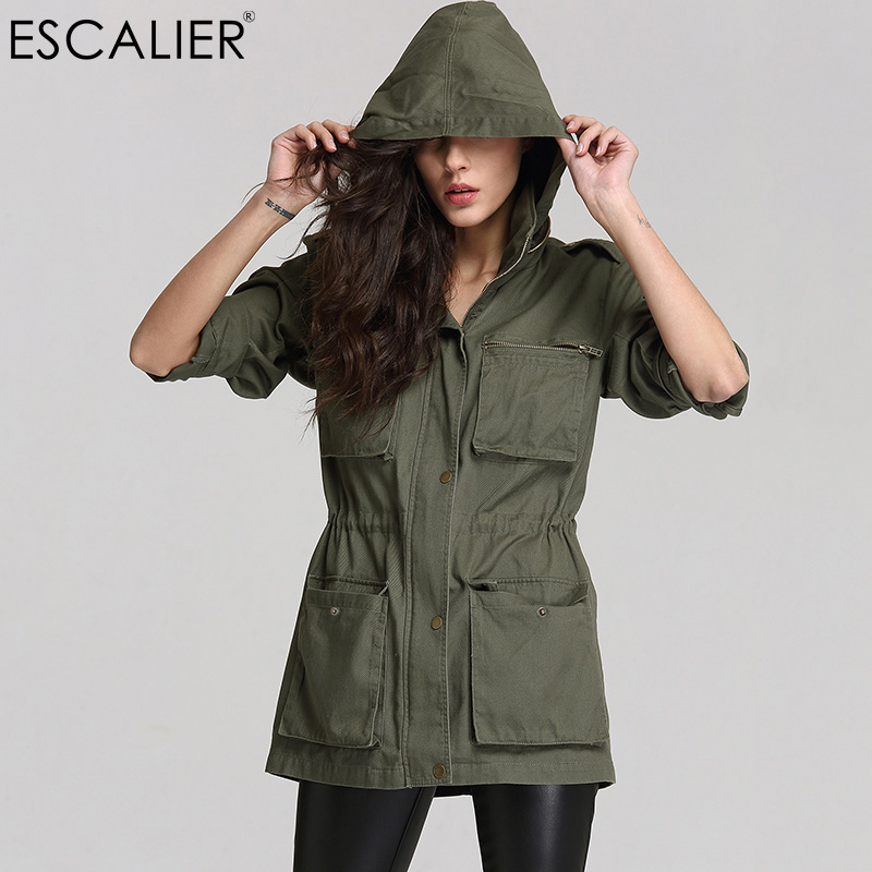 ESCALIER Women Anorak Army Green Camouflage Cotton Long Sleeved Pockets Zipper Hooded Collar  Coat