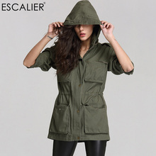 ESCALIER Women Casual Cotton Trench Coats Solid Color Long Sleeved Pockets Zipper Hooded Collar Coat