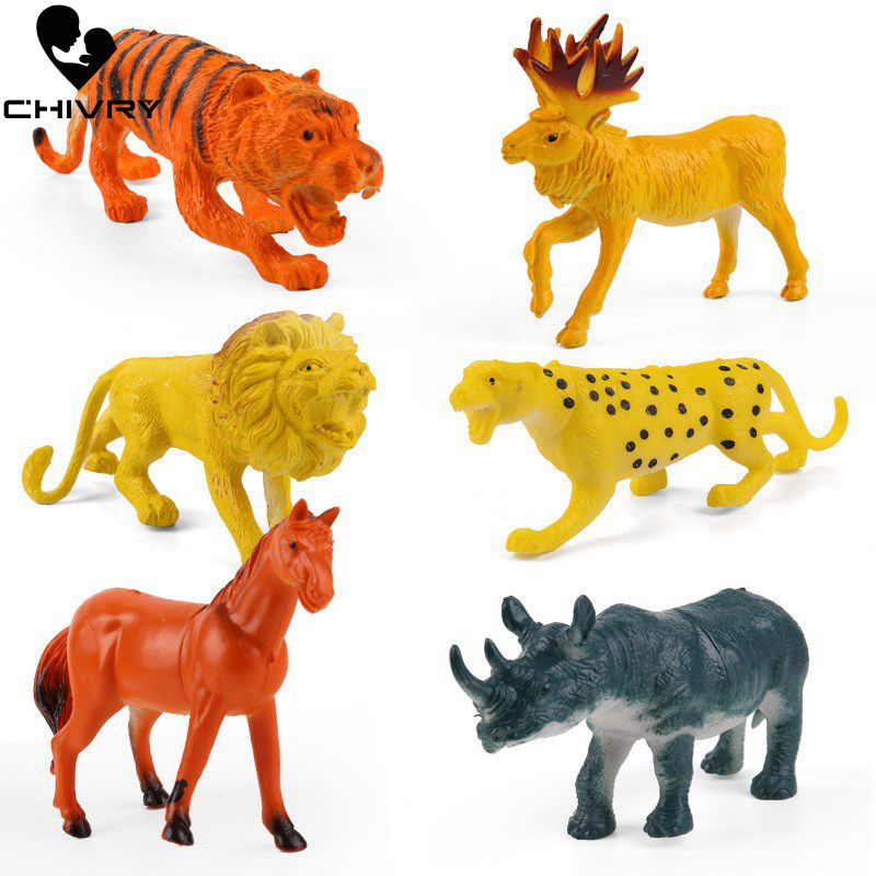 Simulation-Animals Toys Model Lion Action--Figures Kids for Children Boys 6pcs/Lot Gifts