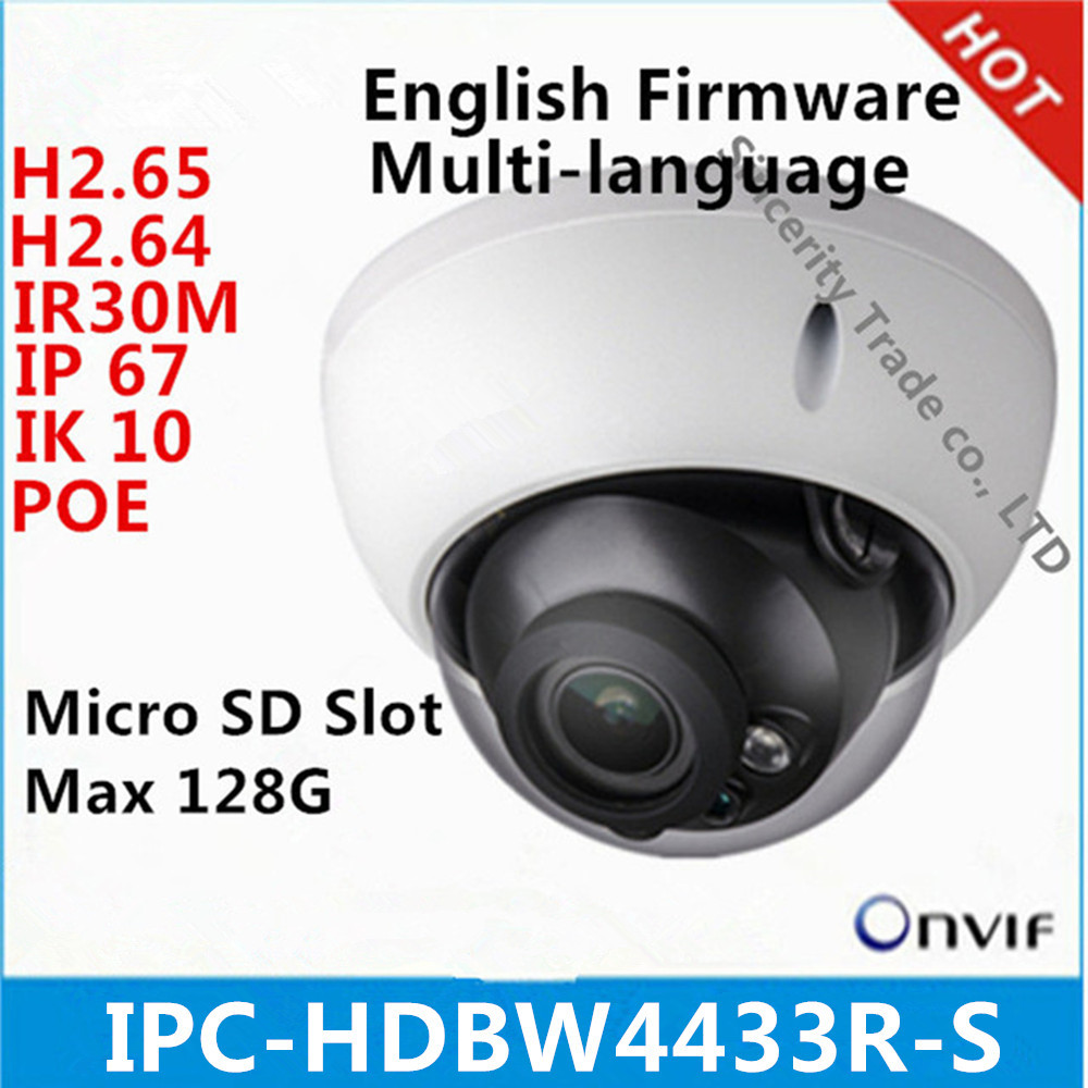 DH IPC-HDBW4433R-S 4MP Starlight Camera IK10 IP67 Built-in SD Card Slot POE Camera Replace IPC-HDBW4431R-S IP Camera