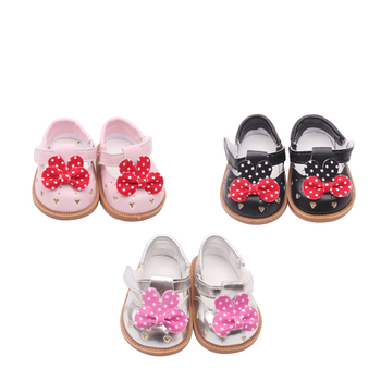 цена на 18 inch Girls doll shoes Cute baby bow shoes American new born accessories Baby toys fit 43 cm baby s121