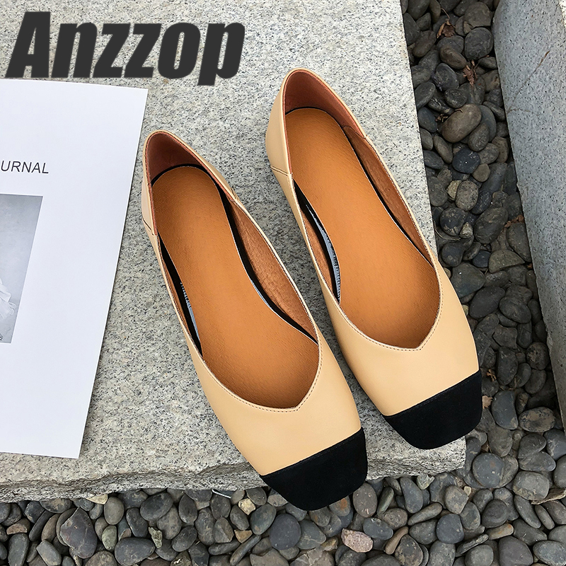 Women's Shoes Square New Mouth 19 Shallow with Comfortable Anti-Skid Ol Wind Small Fragrance