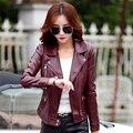 Новый женский кожаный короткий параграф Тонкий мотоцикл кожаная куртка большой размер пальто