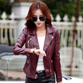 New women 's leather short paragraph Slim motorcycle leather jacket large size coat