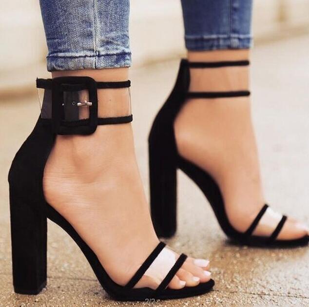 Elegant Cool Fashion Women Pumps Summer Breathable Snake Brand Peep Toe Female High Heels Pumps Buckle Strap Flock Pumps