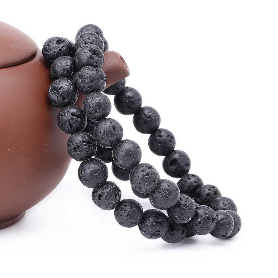 2017 Baru Kedatangan Mens Perhiasan Manik-manik 8mm Lava Batu Beads Batu Empedu Gelang Partai Hadiah Perhiasan Yoga