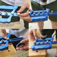 OOTDTY Self Centering Dowelling Jig Metric Dowel 6 8 10mm Drilling Tools Woodworking With 3 Drill