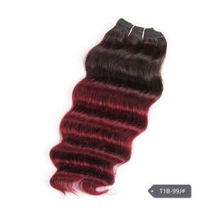 Image 3 - Sleek Nature Hi Deep Hair 1 Piece Only Brazilian Deep Wave Human Hair Weave Bundles Deal P6 27 T1B 99J Ombre Remy Hair Extension