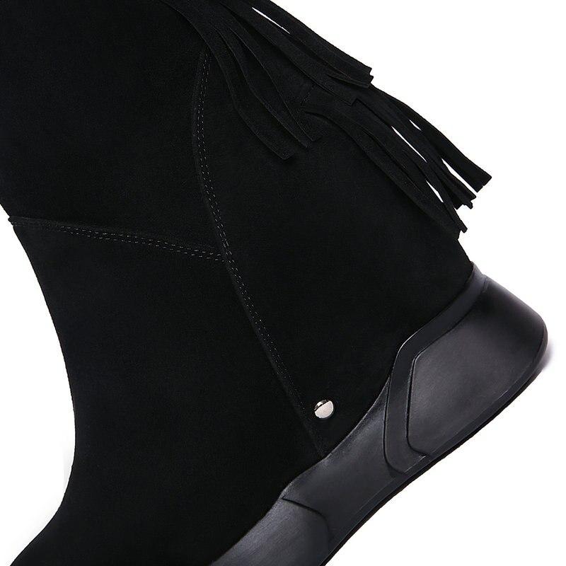 En Cuir Femmes Haute Mode Nemaone Automne Long Chaud Femme formes Véritable Coins Hiver Chaussures Talons Plates Nouvelle Genou Noir Bottes gY8wqwzEx