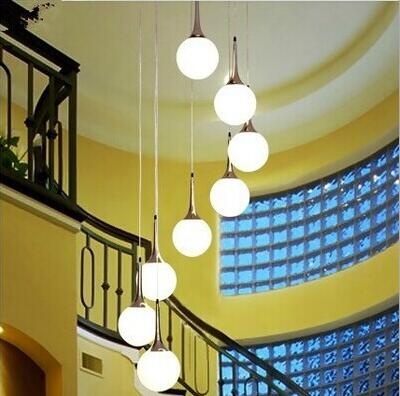 LED double staircase lamp long chandelier villa creative ball modern simple restaurant lights living room lighting rotation lamp chinese style simple led long block crystal villa staircase pendant lamp revolving double staircase living room lighting pendant