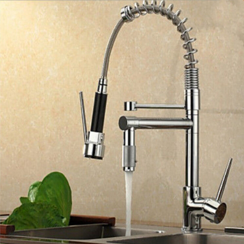 Wholesale And Retail Promotion Luxury Chrome Brass Spring Kitchen Faucet Single Handle Hole Vessel Sink Mixer Tap good quality wholesale and retail chrome finished pull out spring kitchen faucet swivel spout vessel sink mixer tap lk 9907