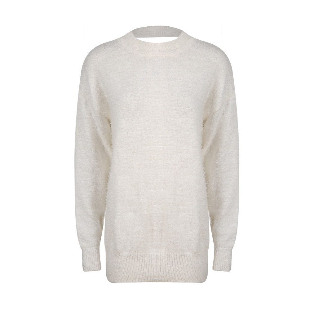 White cut out back mohair sweaters for women winter long sleeve ...