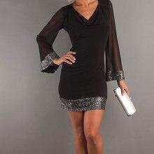 Women Fashion Girls Loose Sundress V-Neck Zipper Long Sleeve Mesh Hollow Paillette Casual Sexy Mini Dress Black S/M/L/XL