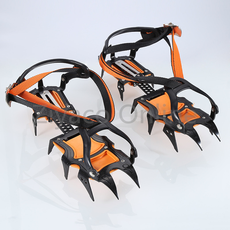 1pair Outdoor 12 teeth Point Long Spike Ice Snow Hiking Climbing Travel Crampons Shoes Grip Boots