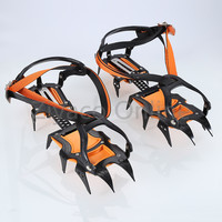 1pair Outdoor 12 teeth Point Long Spike Ice Snow Hiking Climbing Travel Crampons Shoes Grip Boots Grippers Adjustable Kits