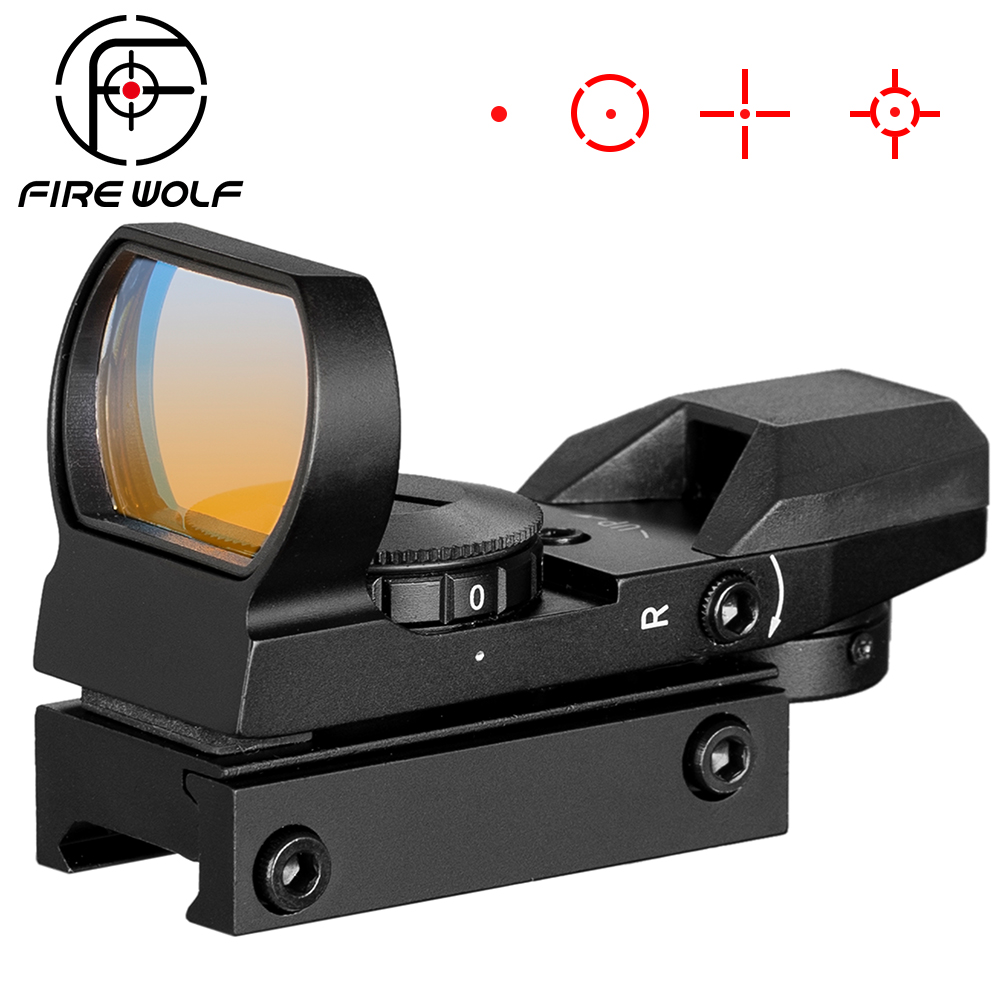 FIRE WOLF 1x22x33mm Multi 4 Reticle Electro Red Dot Sight Riflescope With Mount For 20mm Rail