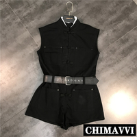 2019 Summer New Chinese Style Stand Collar Buttons Decoration Sleeveless Jumpsuit Rompers Women Casual Denim Playsuit Shorts