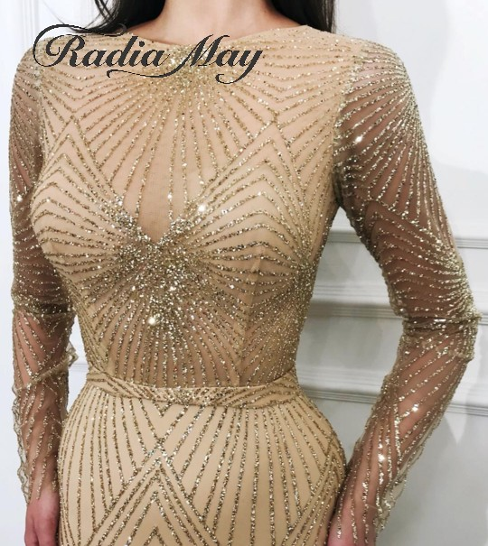 Glitter Sequin Gold Long Sleeves Arabic Evening Dresses Mermaid Long Women Formal Party Gowns Abaya Kaftan Dubai Prom Dress 2019