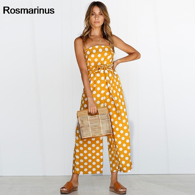 d7e0b8e49983 Rosmarinus Polka Dot Jumpsuit Women Rompers 2018 Summer Strapless Backless  Sexy Rompers Belted Wide Leg Pants