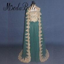 modabelle Hijab Long Gold Applique Muslim Formal Evening Dresses For Women Turkish Moroccan Kaftan Emerald Green