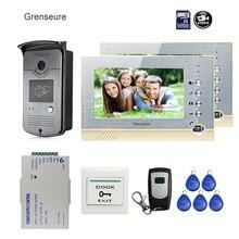 FREE SHIPPING BRAND 7″ Home Color Recording Video Door phone Intercom + 2 Monitors + RFID Card Reader Door Camera + Remote + 8G