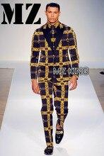 Classical Brand Suit Men Singers GD Chi-Long Golden Letters slim Suit Costumes Stage Formal Dress prom groom party suit ! M-5XL