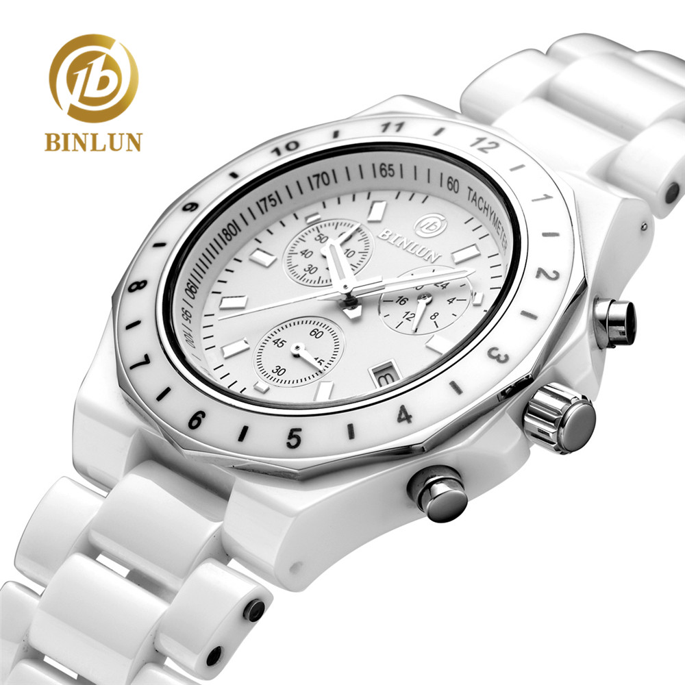 BINLUN Pure White Ceramic Women Quartz Watches Seconds Timer Auto Date Female Sports Watch Waterproof Swimming Lady Wrist Watch elegant ceramic quartz wrist watch for female white silver 1 x 377
