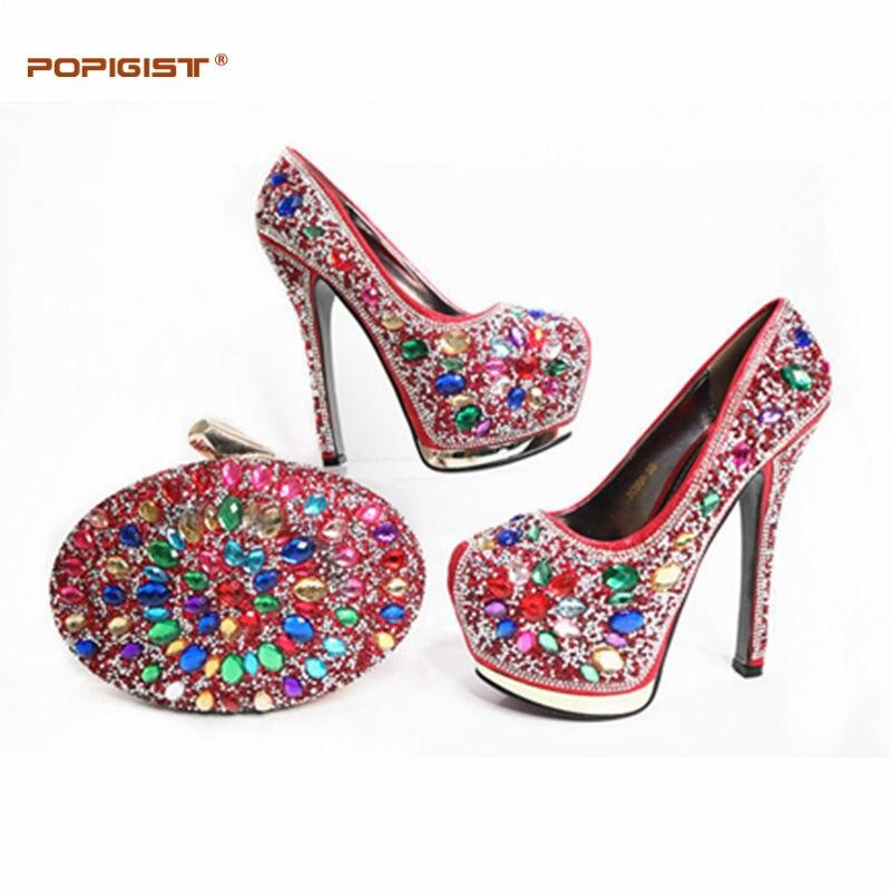 red Haute Pompes Femme De Super Et Chaussures Strass Gros Avec as Italiennes Picture Mariage gold En Ensemble Nouvelle Arrivée Mode Teal Talons Prix Sac XzPqxq16