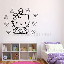 Superior Free Shipping Vinyl Wall Stickers Hello Kitty ,cute Hello Kitty With Flower  And Bird Decal Decor ,60x45cm K2073 Part 20