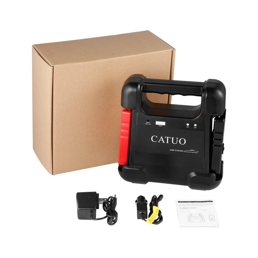 CATUO 12V/24V 28000mAh Intelligent Jump Starter Multifunction Emergency Power Supply for 12V Car 24V Trucks Excavators