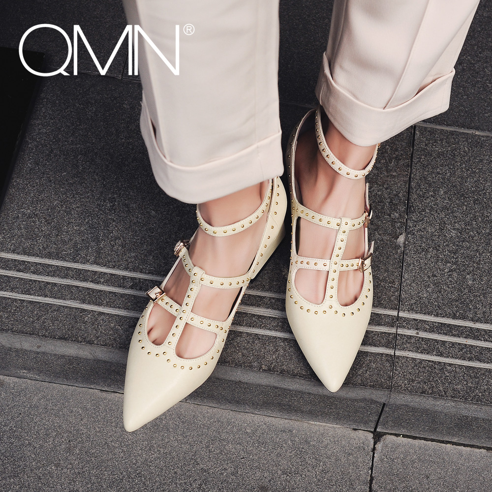 QMN women genuine leather pumps Women Punk Style Studded Leather Pointed Toe Ankle Strap Shoes Woman