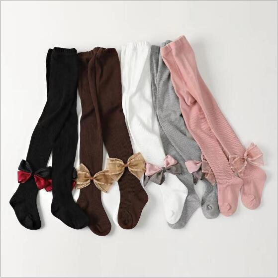 2019 New Spring And Autumn Children's Baby Leggings Bow Casual Trousers Socks 1-7 Years Old Factory Wholesale Pantyhose