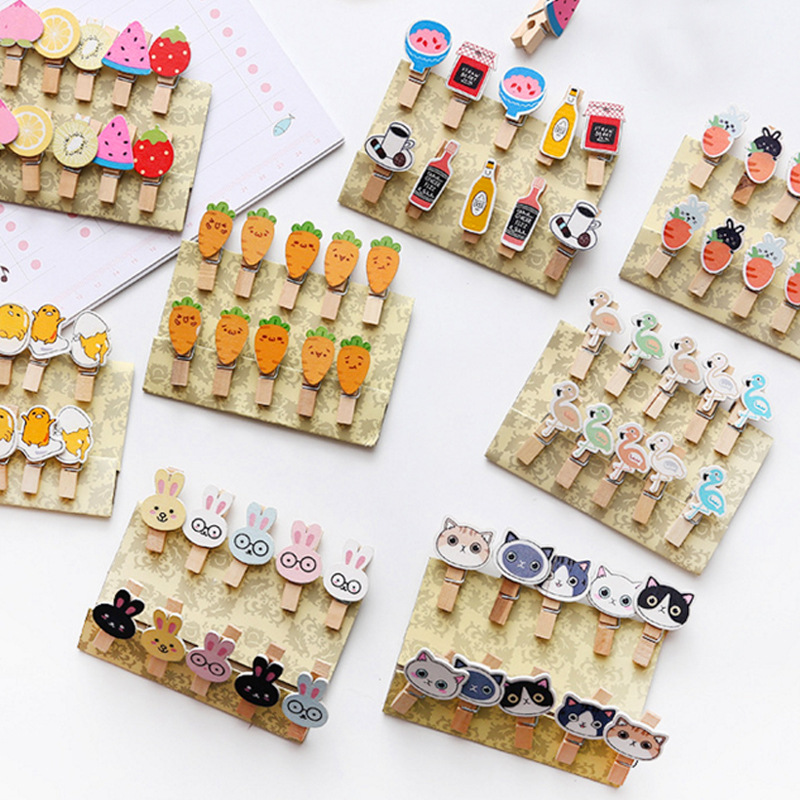 Cartoon Cat Cactus Flamingo Wooden Paper Clip Bookmark For Album With Rope Message Stickers Stationery School Office Supply