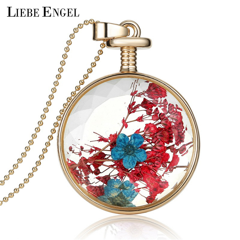 LIEBE ENGEL Vintage Golden Collares Red Dried Flowers Crystal Glass Statement Necklace Long Chain Statement Necklace Jewerly ...