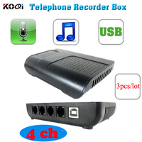 3pcs Lot 4 Port Phone Call Recorder With Telephone Recording Software