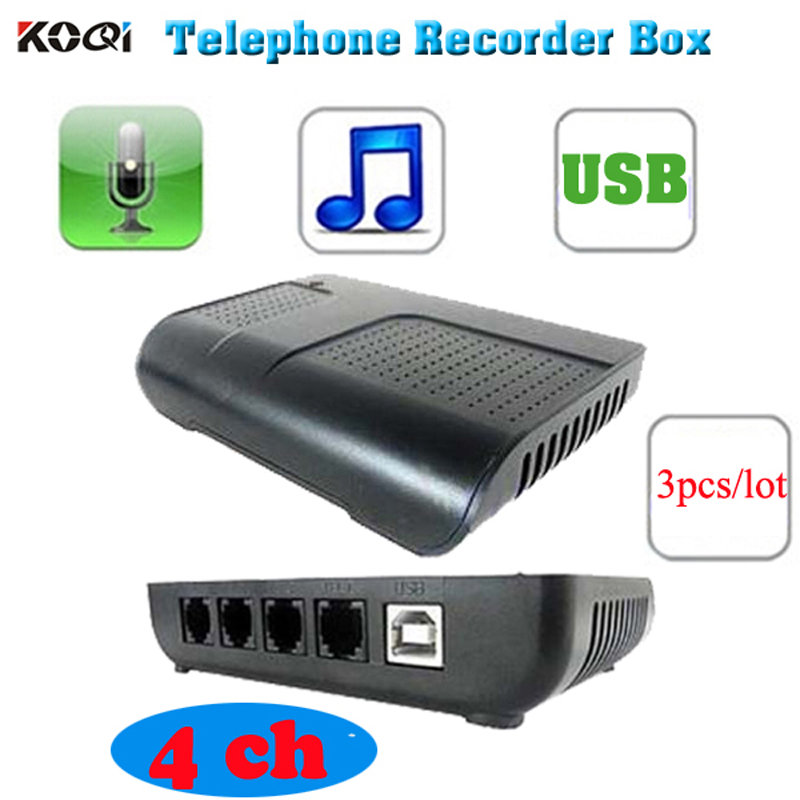 3pcs/lot 4 port phone call recorder with telephone recording software usb digital telephone phone call voice recorder pc