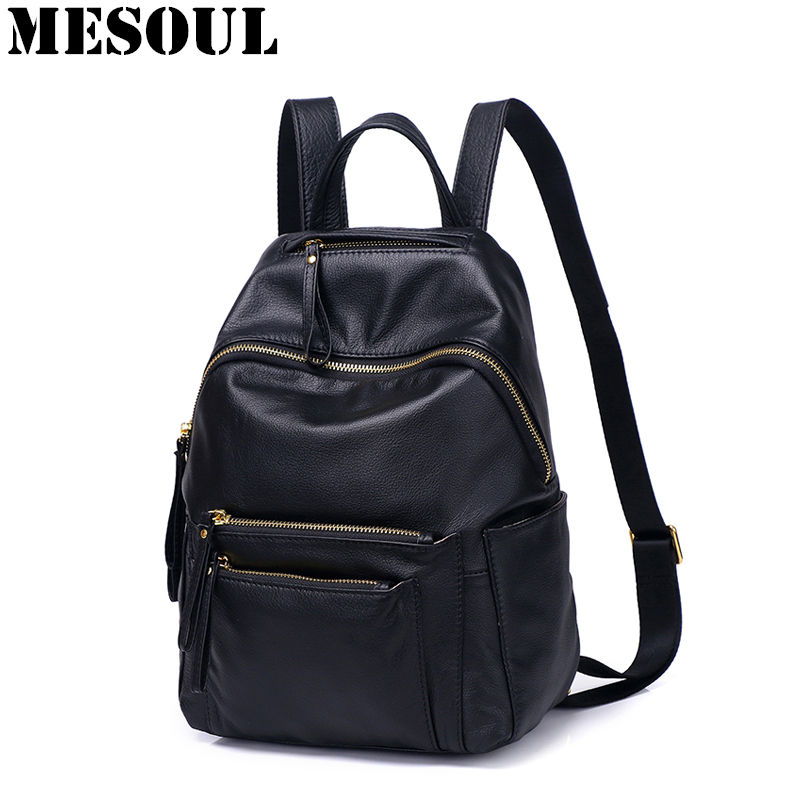 High Quality Women Backpacks 2018 New Fashion School Bags Multi-pocket Shoulder Travel Bag 100% Genuine Leather Backpacks Female