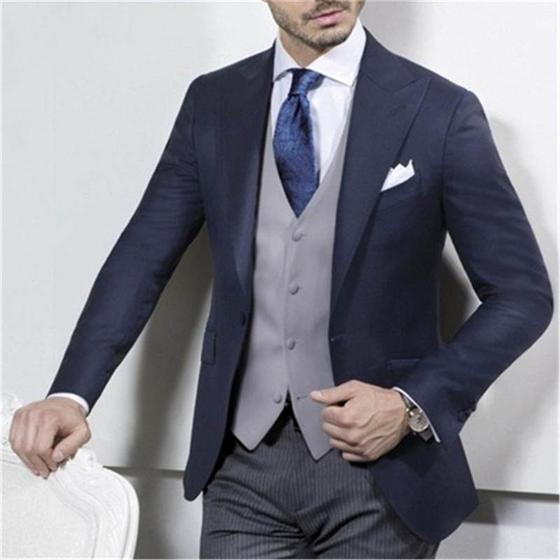 New Navy Blue Coat With Grey Vest Wedding Suits For Men 3pieces(Jacket+Pants+Vest+Tie) Slim Fit Italian Style Groom Blazer